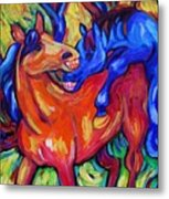 Horses Playing Metal Print