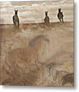 Horses Run With Us Collage Metal Print