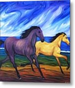 Horses Running On The Beach Metal Print