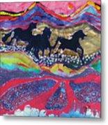 Horses Running Thru A Stream Metal Print
