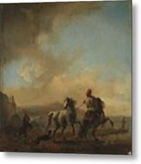 Horses Startled By A Dog Ca Metal Print