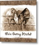 Horses Western Wedding Invitation Getting Hitched Metal Print