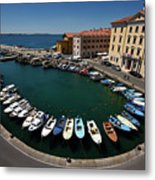 Horseshoe Pattern Of Moored Boats At The Inner Harbour Of Piran  Metal Print