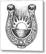 Horseshoe Sun And Sea Tattoo Metal Print