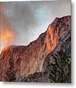 Horsetail Falls Cloudy Sunset Metal Print