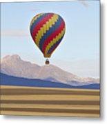 Hot Air Balloon And Longs Peak Metal Print
