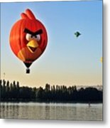 Hot Air Balloon Confronts Stand Up Paddleboarder Metal Print