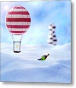 Hot Air Balloon In The Snow Metal Print