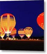 Hot Air Balloon Night Glow Metal Print