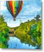 Hot Air Balloon Woodstock Vermont Pencil Metal Print