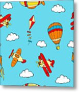 Hot Air Balloons And Airplanes Fly In The Sky Metal Print