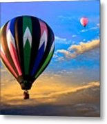 Hot Air Balloons At Sunset Metal Print