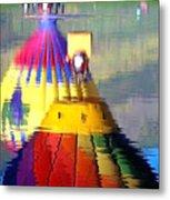 Hot Air Balloons In Reflection - Watercolor Metal Print