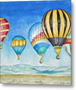 Hot Air Balloons Over Sandia Metal Print