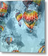 Hot Air Balloons Digital Watercolor On Photograph Metal Print