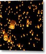 Hot Air Lanterns In Sky Metal Print
