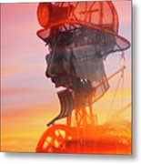 Hot And Steamy Man Engine Metal Print