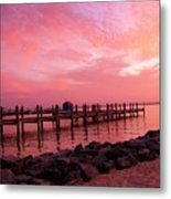 Hot Bay Sunset Metal Print