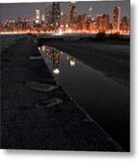 Chicago Hot City At Night Metal Print