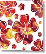 Hot Flowers Dancing Silhouettes Metal Print