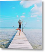 Hot Girl In White Jeans Doing Yoga On The Wooden Pier By The Sea Metal Print