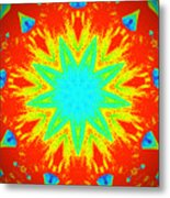 Hot Kaleidoscope Flower Metal Print