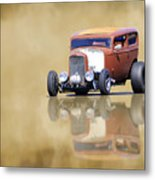 Hot Rod Reflection Metal Print