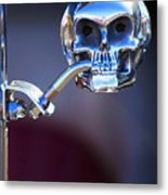 Hot Rod Skull Rear View Mirror Metal Print