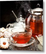 Hot Steaming Tea With Christmas Biscuits Metal Print