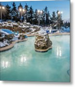 Hot Tubs And Ingound Heated Pool At A Mountain Village In Winter Metal Print