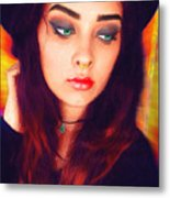 Hot Youth Beauty Rebellion Alexis Burleson Signed Metal Print