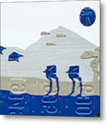 Hoth Star Wars Scene Panorama Made Using Vintage Recycled License Plates On White Wood Plank Metal Print