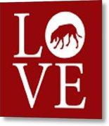 Hound Dog Love Red Metal Print