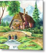 House Along The River Metal Print