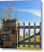 House Behind The Fence Metal Print