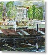 House Boat In Amsterdam Metal Print