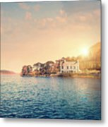 House By A Lake At Sunset Metal Print