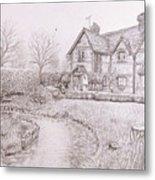 House By Lake Metal Print