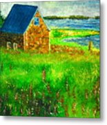House By The Field Metal Print