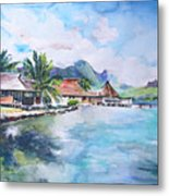 House By The Lagoon In French Polynesia Metal Print