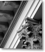 House Column Black And White Metal Print