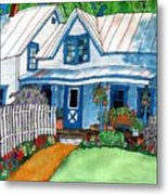 House Fence And Flowers Metal Print