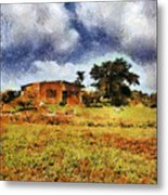 House In A Desert Land Metal Print