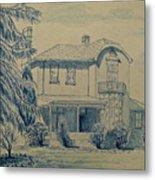 House In Blue Metal Print