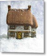 House In Snow Metal Print