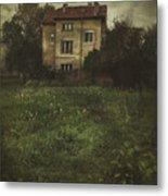 House In Storm Metal Print