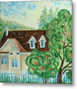 House In The Village Metal Print