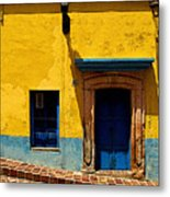House In Yellow And Blue Metal Print