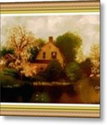 House Near The River. L A With Decorative Ornate Printed Frame. Metal Print