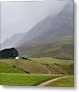 House On A Hill In The Mist Metal Print